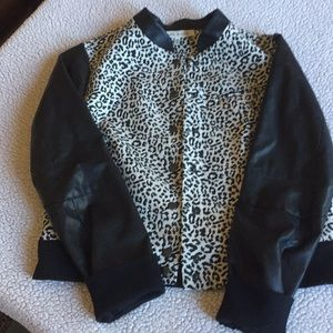 """Leather""lepoard print jacket"